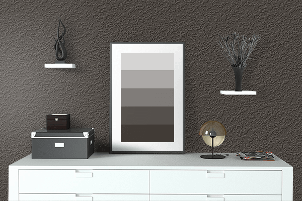 Pretty Photo frame on Dark Taupe color drawing room interior textured wall