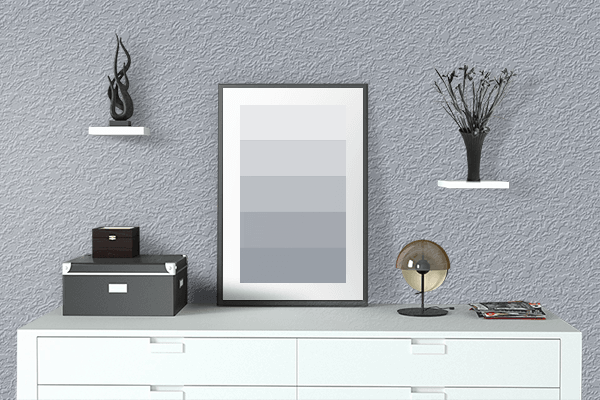 Pretty Photo frame on Pewter color drawing room interior textured wall