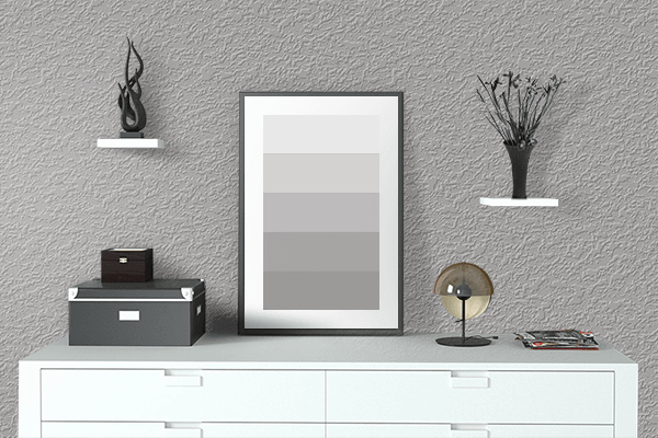 Pretty Photo frame on Dull Silver color drawing room interior textured wall