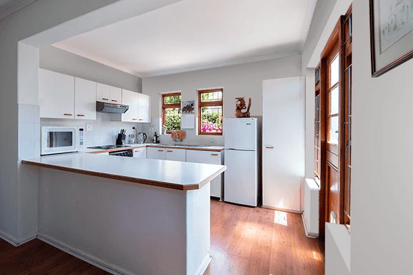 Pretty Photo frame on Dull Silver color kitchen interior wall color
