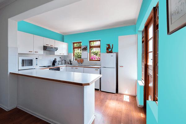 Pretty Photo frame on Sea Serpent color kitchen interior wall color