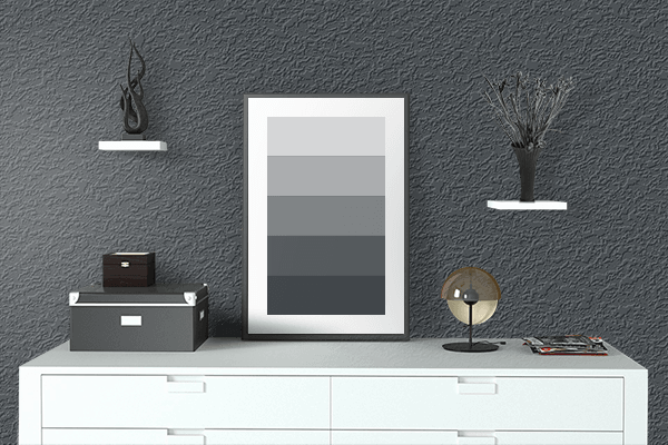 Pretty Photo frame on Metallic Charcoal color drawing room interior textured wall