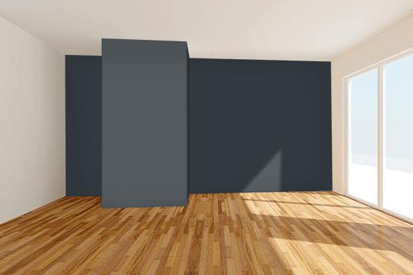 Pretty Photo frame on Metallic Charcoal color Living room wal color