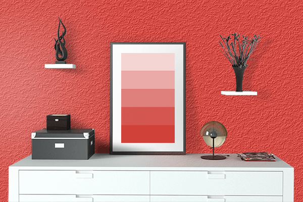 Pretty Photo frame on Lava Red color drawing room interior textured wall