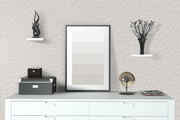 Pretty Photo frame on Alabaster color drawing room interior textured wall