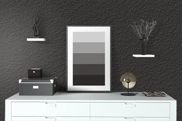 Pretty Photo frame on 黒色 (Kokushoku) color drawing room interior textured wall