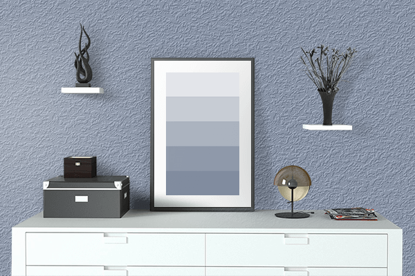 Pretty Photo frame on Neutral Light Blue color drawing room interior textured wall