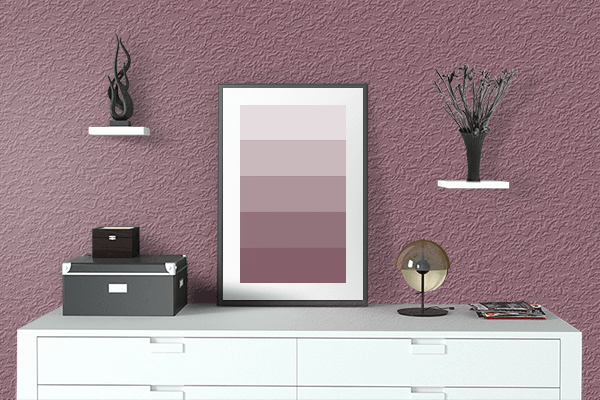 Pretty Photo frame on Raspberry Glacé color drawing room interior textured wall