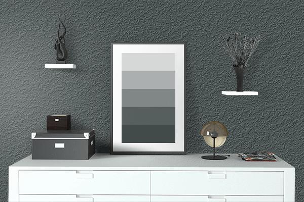 Pretty Photo frame on 御納戸色 (Onando-iro) color drawing room interior textured wall