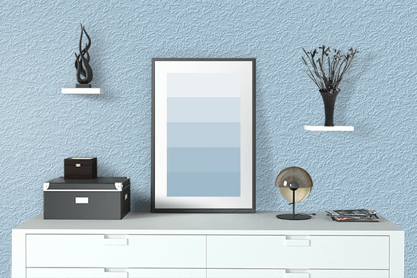 Pretty Photo frame on Pastel Sky Blue color drawing room interior textured wall