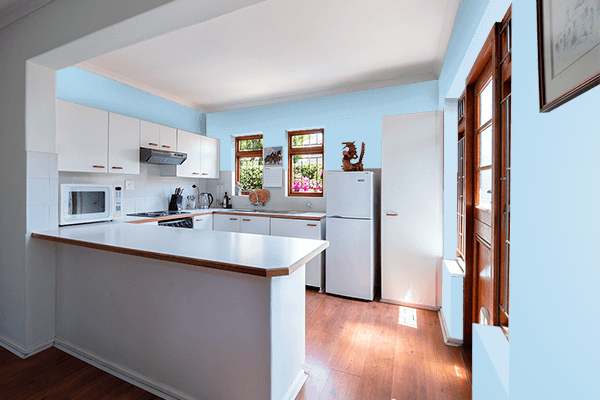 Pretty Photo frame on Pastel Sky Blue color kitchen interior wall color
