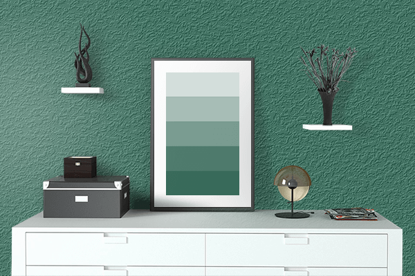 Pretty Photo frame on Dark Wintergreen color drawing room interior textured wall