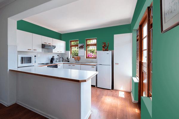 Pretty Photo frame on Dark Wintergreen color kitchen interior wall color
