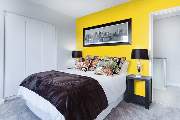 Pretty Photo frame on Metallic Yellow color Bedroom interior wall color