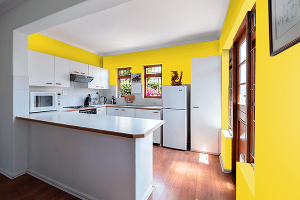 Pretty Photo frame on Metallic Yellow color kitchen interior wall color