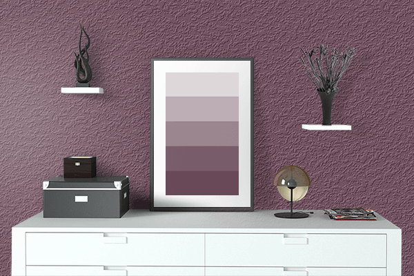 Pretty Photo frame on Passionfruit color drawing room interior textured wall
