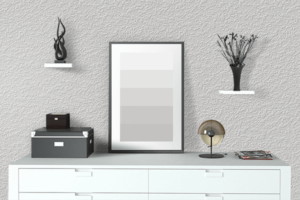 Pretty Photo frame on Platinum color drawing room interior textured wall