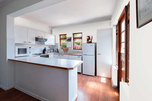 Pretty Photo frame on Platinum color kitchen interior wall color