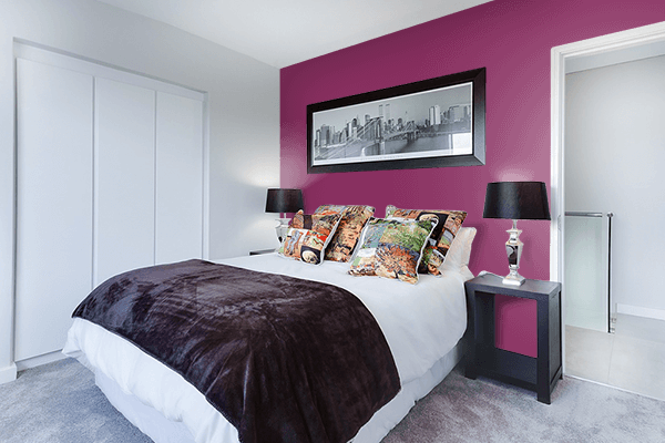 Pretty Photo frame on Anthocyanin color Bedroom interior wall color