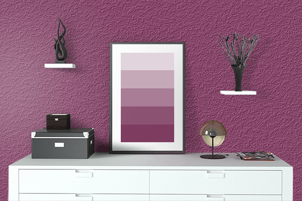 Pretty Photo frame on Anthocyanin color drawing room interior textured wall