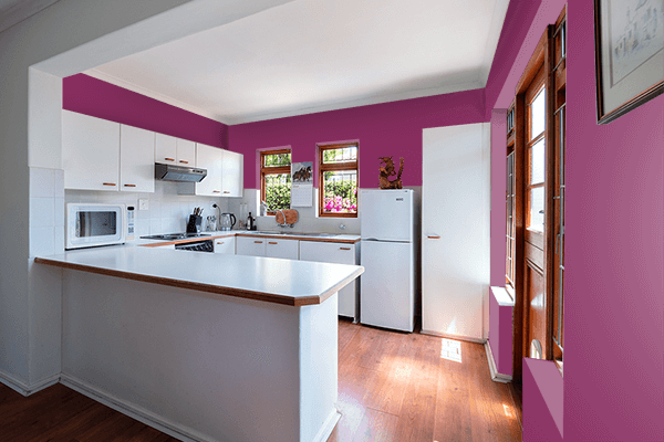 Pretty Photo frame on Anthocyanin color kitchen interior wall color