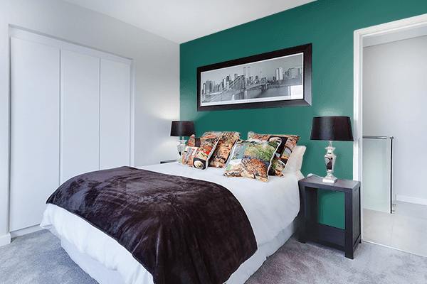 Pretty Photo frame on Dark Teal Green color Bedroom interior wall color