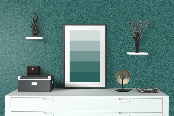 Pretty Photo frame on Dark Teal Green color drawing room interior textured wall
