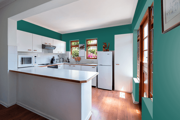 Pretty Photo frame on Dark Teal Green color kitchen interior wall color