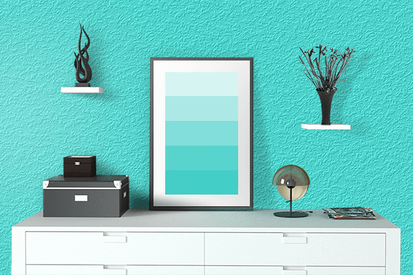 Pretty Photo frame on Metallic Cyan color drawing room interior textured wall