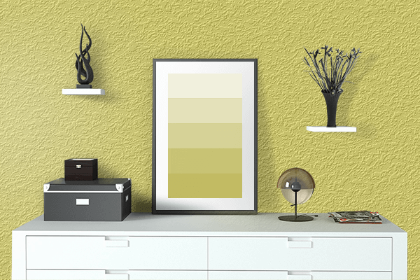 Pretty Photo frame on Light Gold Matte color drawing room interior textured wall