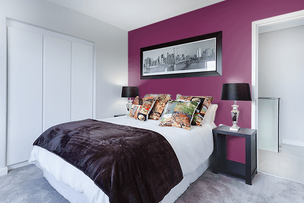 Pretty Photo frame on Boysenberry color Bedroom interior wall color