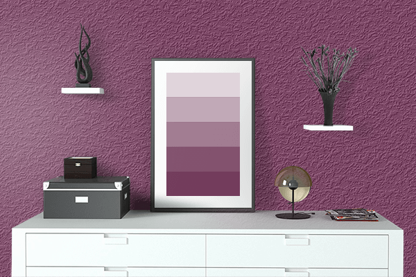 Pretty Photo frame on Boysenberry color drawing room interior textured wall
