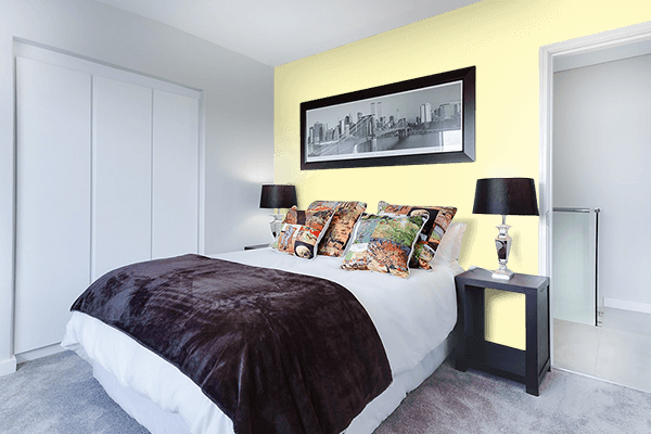 Pretty Photo frame on Blond CMYK color Bedroom interior wall color