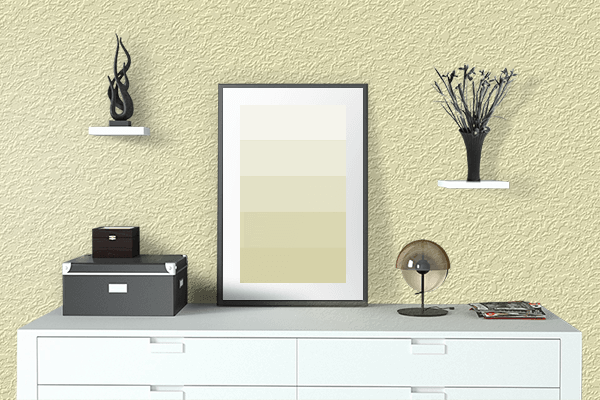 Pretty Photo frame on Blond CMYK color drawing room interior textured wall