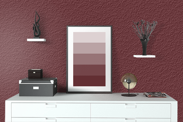 Pretty Photo frame on Rosewood color drawing room interior textured wall