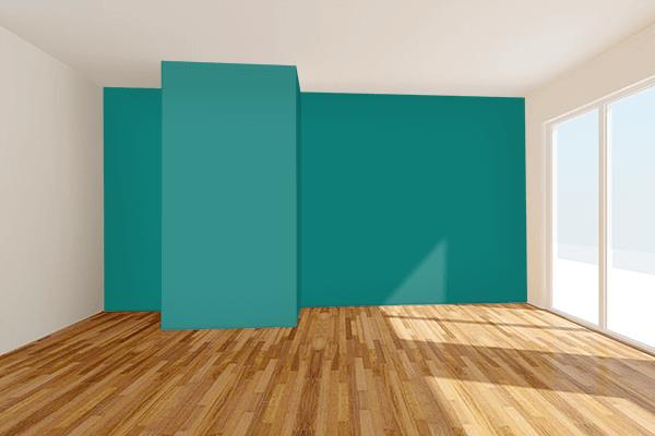 Pretty Photo frame on Dark Aquamarine Blue color Living room wal color