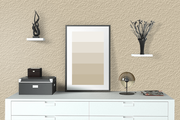 Pretty Photo frame on Parmesan color drawing room interior textured wall