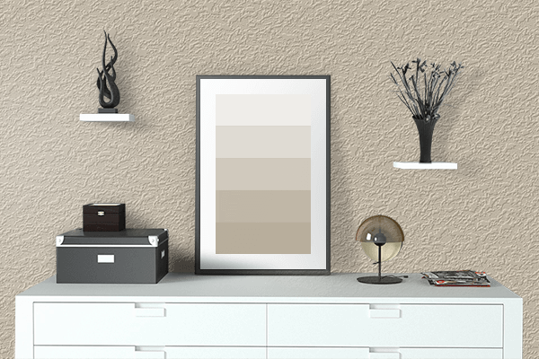 Pretty Photo frame on Oyster color drawing room interior textured wall