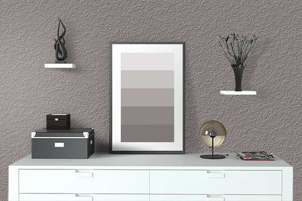 Pretty Photo frame on Mink color drawing room interior textured wall
