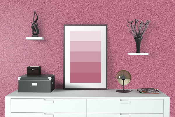 Pretty Photo frame on Blush color drawing room interior textured wall