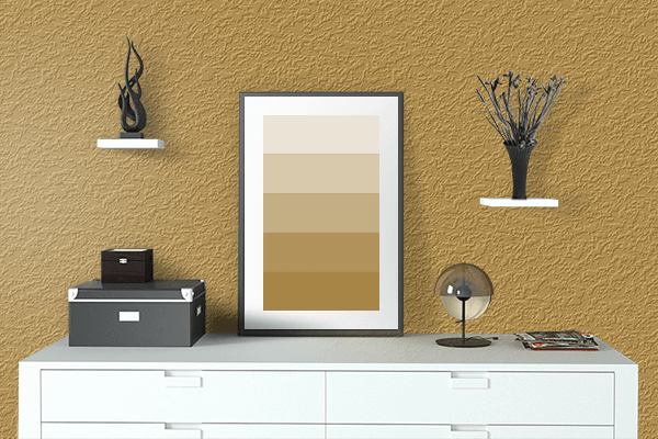 Pretty Photo frame on Gold Crown color drawing room interior textured wall