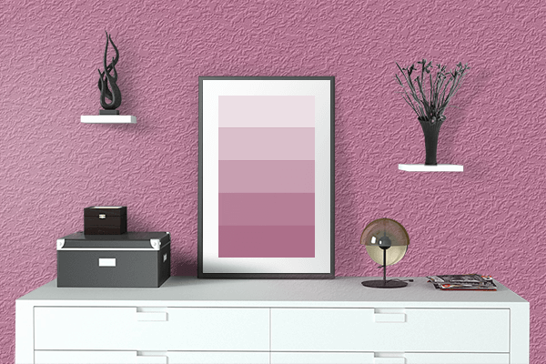 Pretty Photo frame on Mauve Pink color drawing room interior textured wall
