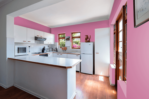 Pretty Photo frame on Mauve Pink color kitchen interior wall color