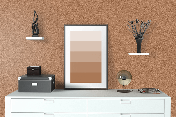 Pretty Photo frame on Maple Syrup color drawing room interior textured wall