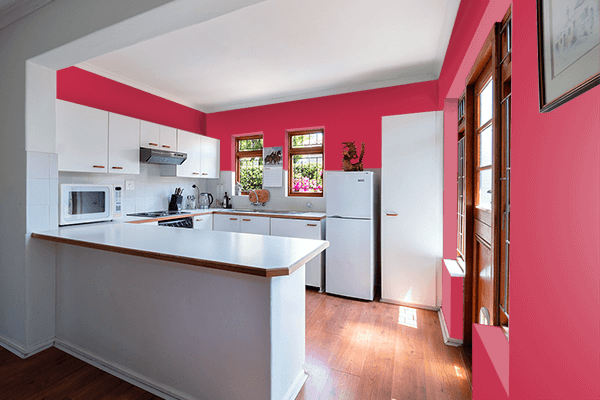 Pretty Photo frame on French Raspberry color kitchen interior wall color