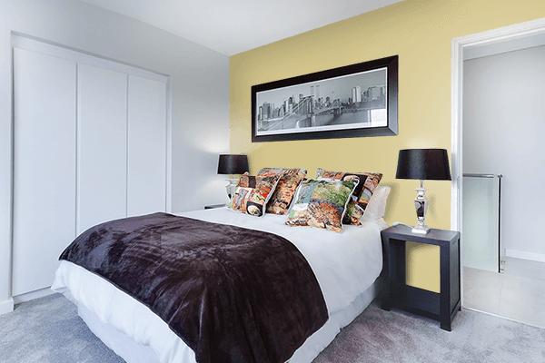 Pretty Photo frame on Dark Vanilla color Bedroom interior wall color