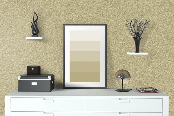 Pretty Photo frame on Dark Vanilla color drawing room interior textured wall