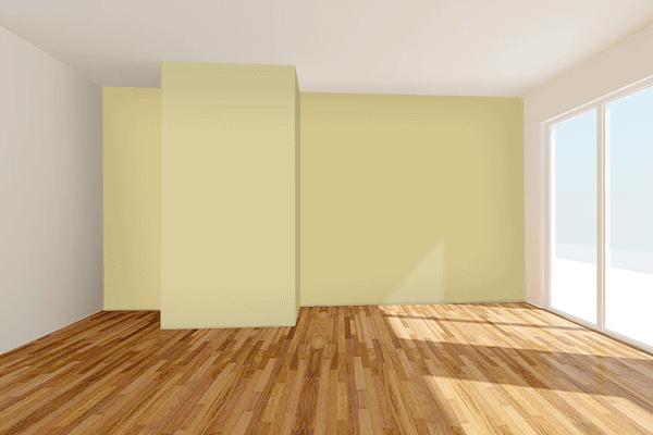 Pretty Photo frame on Dark Vanilla color Living room wal color