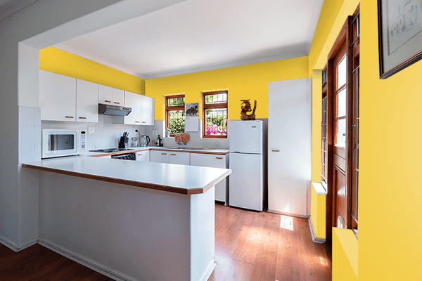 Pretty Photo frame on Best Gold color kitchen interior wall color