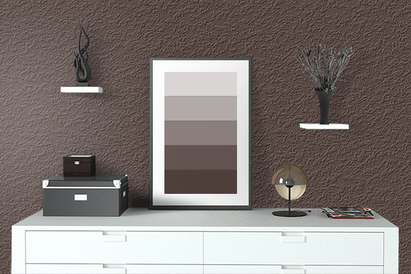Pretty Photo frame on Rich Coffee color drawing room interior textured wall